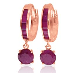 Genuine 3.3 ctw Ruby Earrings Jewelry 14KT Rose Gold - REF-59T2A