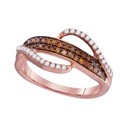0.33 CTW Red Color Diamond Swirl Strand Ring 10KT Rose Gold - REF-20N9F