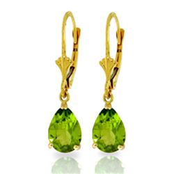 Genuine 3 ctw Peridot Earrings Jewelry 14KT Yellow Gold - REF-29V2W