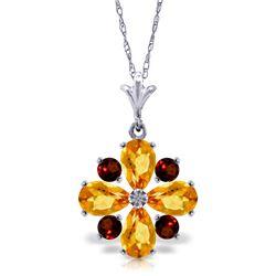 Genuine 2.43 ctw Citrine & Garnet Necklace Jewelry 14KT White Gold - REF-29P7H
