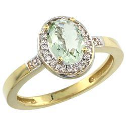 Natural 1.08 ctw Green-amethyst & Diamond Engagement Ring 10K Yellow Gold - REF-25V5F