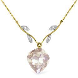 Genuine 12.82 ctw White Topaz & Diamond Necklace Jewelry 14KT Yellow Gold - REF-42W7Y