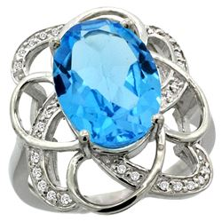 Natural 5.59 ctw swiss-blue-topaz & Diamond Engagement Ring 14K White Gold - REF-59G6M