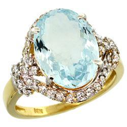 Natural 5.91 ctw aquamarine & Diamond Engagement Ring 14K Yellow Gold - REF-118F2N