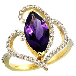 Natural 3.33 ctw Amethyst & Diamond Engagement Ring 14K Yellow Gold - REF-77G5M