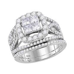 2.01 CTW Princess Diamond Halo Bridal Engagement Ring 14KT White Gold - REF-209H9M