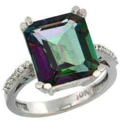 Natural 5.48 ctw Mystic-topaz & Diamond Engagement Ring 14K White Gold - REF-51X4A
