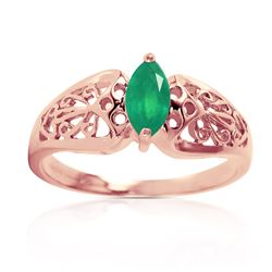 Genuine 0.20 CTW Emerald Ring Jewelry 14KT Rose Gold - REF-48Z4N