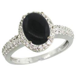 Natural 1.95 ctw Onyx & Diamond Engagement Ring 10K White Gold - REF-30H2W