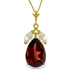 Genuine 6.5 ctw Garnet & White Topaz Necklace Jewelry 14KT Yellow Gold - REF-40Y7F