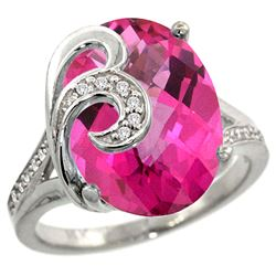 Natural 11.3 ctw Pink-topaz & Diamond Engagement Ring 14K White Gold - REF-75F3N