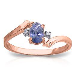Genuine 0.46 ctw Tanzanite & Diamond Ring Jewelry 14KT Rose Gold - REF-31T9A