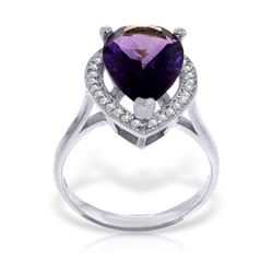 Genuine 3.41 ctw Amethyst & Diamond Ring Jewelry 14KT White Gold - REF-75Z4N