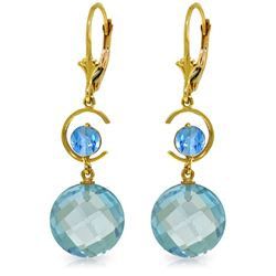Genuine 11.60 ctw Blue Topaz Earrings Jewelry 14KT Yellow Gold - REF-47R5P