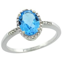 Natural 1.2 ctw Swiss-blue-topaz & Diamond Engagement Ring 14K White Gold - REF-23X2A