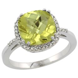 Natural 4.11 ctw Lemon-quartz & Diamond Engagement Ring 14K White Gold - REF-42H9W