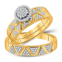 0.33 CTW Diamond Cluster His & Hers Matching Trio Ring 10KT Yellow Gold - REF-48X7Y