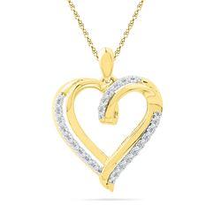 0.10 CTW Diamond Heart Love Pendant 10KT Yellow Gold - REF-14H9M