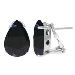 Genuine 9.3 ctw Sapphire Earrings Jewelry 14KT White Gold - REF-83Z5N