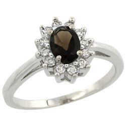Natural 0.67 ctw Smoky-topaz & Diamond Engagement Ring 14K White Gold - REF-48N6G