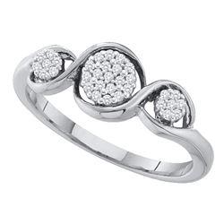 0.12 CTW Diamond Triple Cluster Ring 10KT White Gold - REF-19N4F