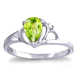 Genuine 0.66 ctw Peridot & Diamond Ring Jewelry 14KT White Gold - REF-31P4H