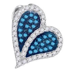 0.33 CTW Blue Color Diamond Heart Love Pendant 10KT White Gold - REF-18H2M