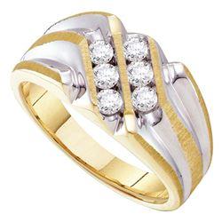 0.50 CTW Mens Diamond Double Row Two-tone Ridged Ring 10KT Yellow Gold - REF-57F2N