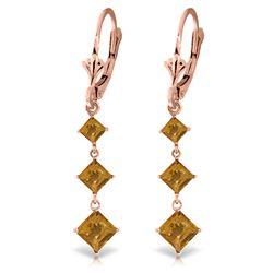 Genuine 4.79 ctw Citrine Earrings Jewelry 14KT Rose Gold - REF-50Z2N