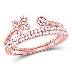 0.21 CTW Diamond Flower Stackable Ring 10KT Rose Gold - REF-30W2K