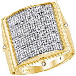 0.85 CTW Mens Pave-set Diamond Square Dome Cluster Ring 10KT Yellow Gold - REF-97H4M