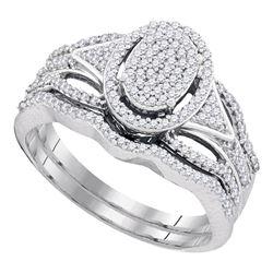 0.40 CTW Diamond Oval Cluster Bridal Engagement Ring 10KT White Gold - REF-44K9W