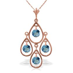Genuine 1.20 ctw Blue Topaz Necklace Jewelry 14KT Rose Gold - REF-30X7M