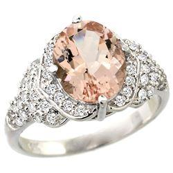 Natural 3.42 ctw morganite & Diamond Engagement Ring 14K White Gold - REF-126A3V