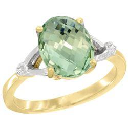 Natural 2.41 ctw Green-amethyst & Diamond Engagement Ring 10K Yellow Gold - REF-24G6M
