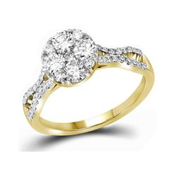 1.02 CTW Diamond Cluster Bridal Engagement Ring 10KT Yellow Gold - REF-132N2F