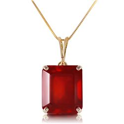 Genuine 7.5 ctw Ruby Necklace Jewelry 14KT Yellow Gold - REF-62A6K
