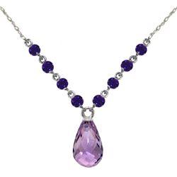 Genuine 11.50 ctw Amethyst Necklace Jewelry 14KT White Gold - REF-34Z7N