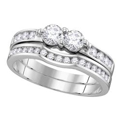 0.51 CTW Diamond 2-stone Bridal Wedding Engagement Ring 10KT White Gold - REF-41X9Y