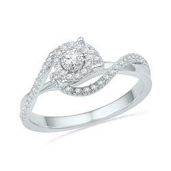 0.20 CTW Diamond Solitaire Swirl Bridal Engagement Ring 10KT White Gold - REF-22K4W