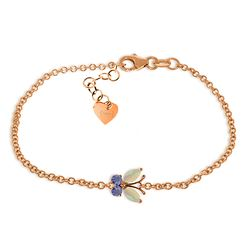 Genuine 0.60 ctw Opal & Tanzanite Bracelet Jewelry 14KT Rose Gold - REF-44W3Y
