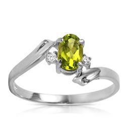 Genuine 0.46 ctw Peridot & Diamond Ring Jewelry 14KT White Gold - REF-28M3T