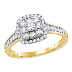 0.63 CTW Diamond Halo Bridal Engagement Ring 14KT Yellow Gold - REF-82Y4X