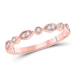 0.10 CTW Diamond Stackable Ring 14KT Rose Gold - REF-22F4N