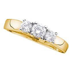 0.27 CTW Diamond 3-stone Bridal Engagement Ring 14KT Yellow Gold - REF-27W7K