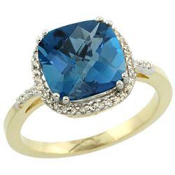Natural 4.11 ctw London-blue-topaz & Diamond Engagement Ring 10K Yellow Gold - REF-35K5R
