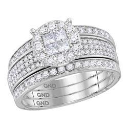 1.01 CTW Princess Diamond Soleil Bridal Engagement Ring 14KT White Gold - REF-140N9F