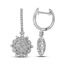 2.28 CTW Diamond Starburst Cluster Dangle Hoop Earrings 14KT White Gold - REF-244Y4X