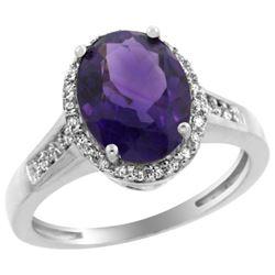 Natural 2.49 ctw Amethyst & Diamond Engagement Ring 14K White Gold - REF-42M2H