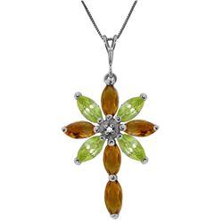 Genuine 2.0 ctw Citrine, Peridot & Diamond Necklace Jewelry 14KT White Gold - REF-47Z4N